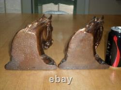 Horse Head Bust, Cast Iron Metal Bookend Statues Cladys. Brown, Dodge, Inc. Vint