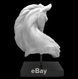 Horse Head Bust Statue Figurine Home Decor Gift White On Stand 53Cm