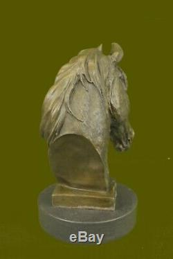 Horse Lovers Real Bronze Horses Head Bust Sculpture Statue Equestrian Decor Sale