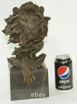 Hot Cast Barye Signed Bronze Royal Lion Head Statue Sculpture Bust Marble Base