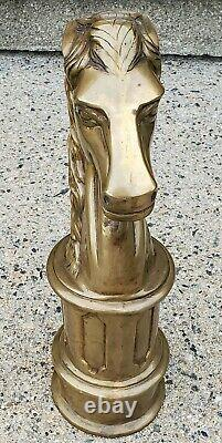 Incredible Brass or Bronze Large Heavy Art Deco Horse Head Statue Knight Hitch