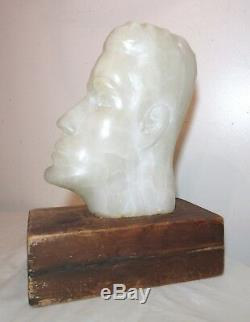 LARGE antique hand carved white marble wood alabaster head bust statue sculpture