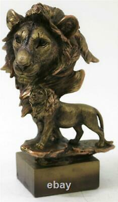 Large Abstract Surreal LION Head Bronze Bust Sculpture Statue on Base 10 Tall