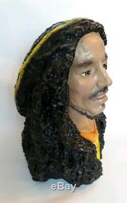 Large Bob Marley Hand Painted Resin Bust Statue Head 19 Inches High Rare Reggae