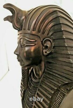 Large Detailed Carved Egyptian King Tut Head Bust Statue 12 Tall Hieroglyphics