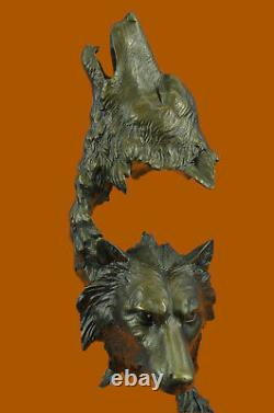 Large Two Wolves Head Bust Classic Wildlife Artwork Bronze Sculpture Statue Deal