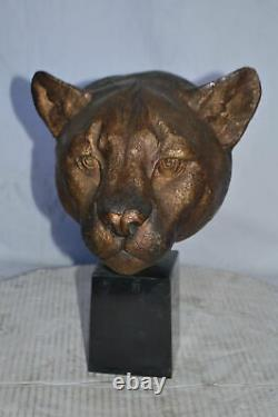 Lion Head Bust bronze statue on a marble base Size 10L x 7W x 14H