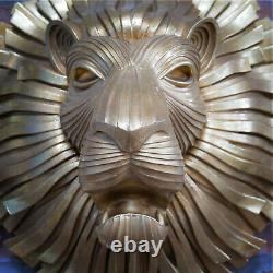 NEW Large GOLD LION HEAD Wall Mounted 3D Decorative Animal Statue Bust
