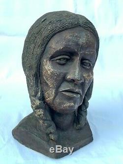 Native American Indian Woman Plaster Sculpture Life Size Head, Bust 2 Ponytails
