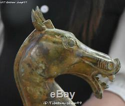 Old Bronze Ware Dynasty Fengshui Zodiac Horse Horses Animal Head Bust Statue