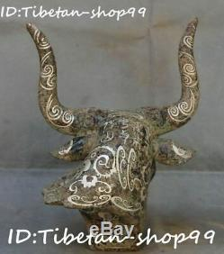Old China Bronze Ware Silver Fengshui Zodiac Cattle Bull Animal Head Bust Statue