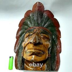 Old Hand Carved Wood Big-Indian Head Chief Bust -Figurine Statue Decor Sculpture