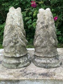 Pair 20th Century Horse Head Busts Garden Stone Gate Post Pillar Capping Statues