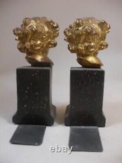 Putti Cherub Head Bust Statue Bookends Gold Gilt Faux Prophry Grand Tour Style