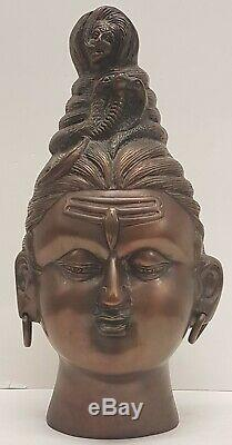 RARE Antique Indian Bronze Bust-Bronze bust of Shiva's head