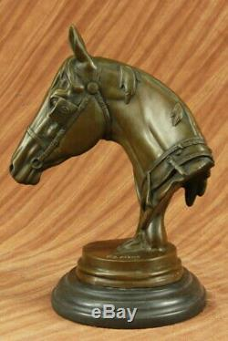 Race Horse Head Bronze Sculpture Bust Statue Thoroughbred By French Artist Barye