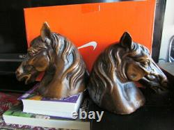 Rare Horse Head Bust Vintage Antique Cast Iron Bookends Statue Collectible