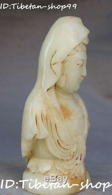 Rare Natural Old Jade Carving Kwan-yin Guanyin Quan Yin Goddess Head Bust Statue