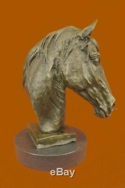 Real Bronze Horse Head Stallion Mare Bust Sculpture Statue Equestrian Figurine
