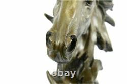 Real Bronze Metal Statue on Marble Bust Horse Head Equestrian Western Sculpture