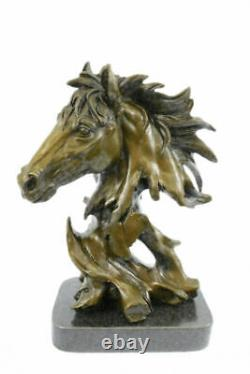 Real Bronze Metal Statue on Marble Bust Horse Head Equestrian Western Statue