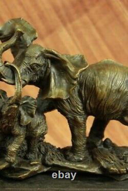 Real Striking Massive Elephant Head Bust with Baby Bronze Sculpture Statue Gift