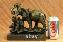 Real Striking Massive Elephant Head Bust with Baby Bronze Sculpture Statue SALE