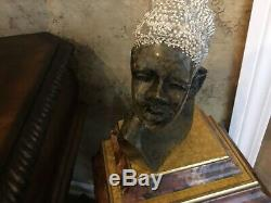 Sculpture Bust African Grey Marble Cast Hand Craved Lady/Head Dressing Statue