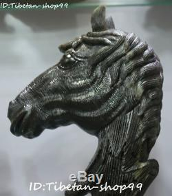Unique Natural Dushan Green Jade Fengshui Horse Horses Animal Head Bust Statue