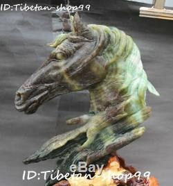 Unique Natural Dushan Jade Carving Zodiac Horse Horses Animal Head Bust Statue