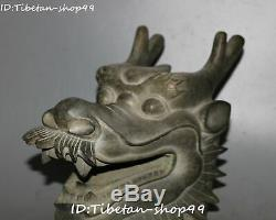 Unique Old Chinese Bronze Dynasty Fengshui Dragon Loong Animal Head Bust Statue