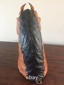 VNTG Handmade 10.25 Leather Wrapped Horse Head Bust Statue Sculpture Wall Art