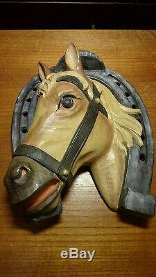 Vintage 12 Wood Hand Carved Wall Bust Portrait Of Horse Head + Horseshoe Statue