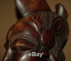 Vintage African Africa Wood Bust Head Figure Figurine Ornament Statue Carving A5