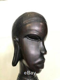 Vintage African Hand Carved Ebony Wood Female Head Statue Bust, 9 1/2 Tall
