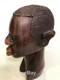 Vintage African Hand Carved Ebony Wood Male Head Statue Bust, 9 1/2 Tall