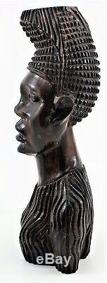 Vintage African Hand Carved Ebony Wood Male Head Statue's Bust