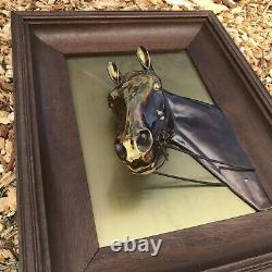 Vintage Brass Horse Head Bust Statue Picture Frame Wood Metal Equestrian 3D Cast