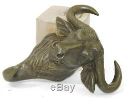 Vintage Bronze Fengshui Bull Oxen Head Bust Decoration Statue Wall Hang Decor NR