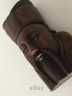 Vintage Chinese Handcarved Wooden Kongzi Head Bust Statue Sculpture, 8 T x 5 W
