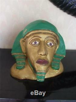 Vintage Egyptian King Tut Statue Sculpture Painted Head Stone Hand Carved Bust