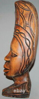 Vintage Hand Carving Wood Head Bust Statue