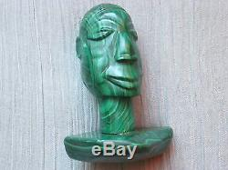 Vintage Handcarved African Man Head Bust Heavy Green Malachite Sculpture Statue