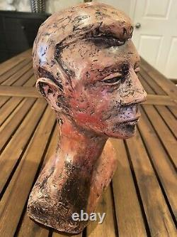 Vintage Head Art Sculpture Heavy Plaster or Clay Hand Made Bust Statue Figure