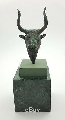 Vintage Unique Metal Bull Head Statue Bust with Green Stone Base
