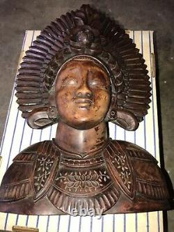 Vintage Wood Carved Aztec Mayan Asian Head Bust Statue 14x9 Inch
