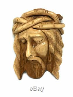 Wall hanging Jesus Face Christ Head Bust Statue Olive Wood Hand Carved Holy Land
