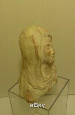 Whitewashed Clay Studio Art Pottery Head Sculpture Bust Statue