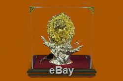 Wild Angry Lion Head Bust Sculpture 24K Gold Plated Statue Figurine Figure Decor
